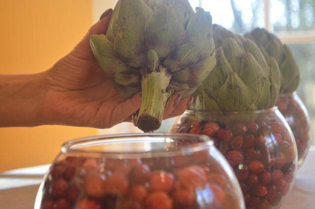 cranberry artichoke centerpiece