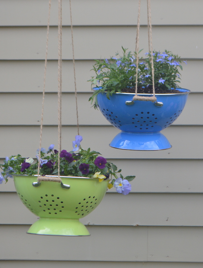 Colorful colander hanging plants for Colorful hanging planters