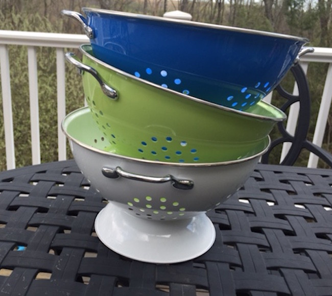 colorful metal colanders