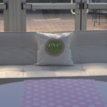 logo on pillow in kid's lounge