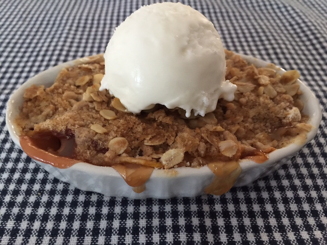 Peach Crumble with Ice Cream