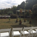 Birchwood Chuppah with sunflowers by Events by Amy