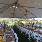 Farm tables and burlap runner for rustic wedding