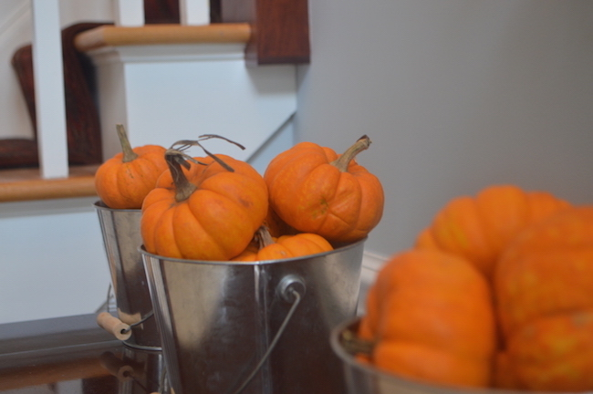Mini Pumpkins in Pails in the Front Hall