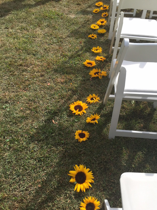 sunflowers lining the aisle of the ceremony - Flowers by Events by Amy