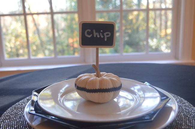 Finished mini white pumpkin place card