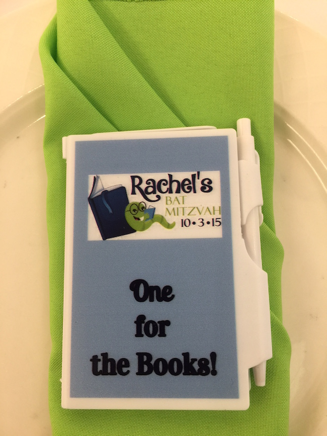 Mini Book Favor at Adult's table for this Book Themed Mitzvah