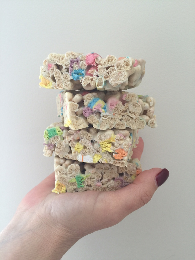 Finished Lucky Charms Marshmallow Treats for St. Patrick's Day