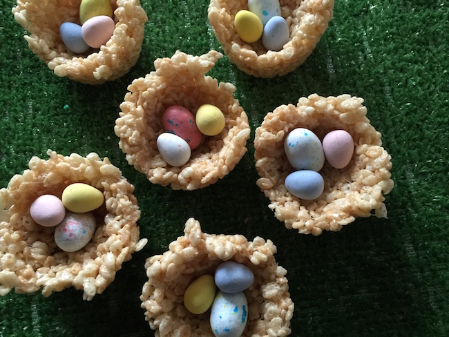 Rice Krispie Easter Egg Nests with Candy Eggs