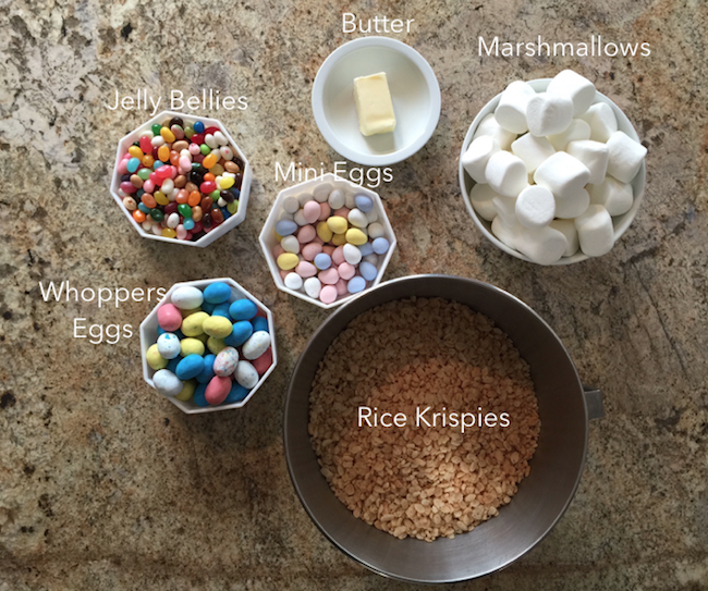 Ingredients for Rice Krispie Nests