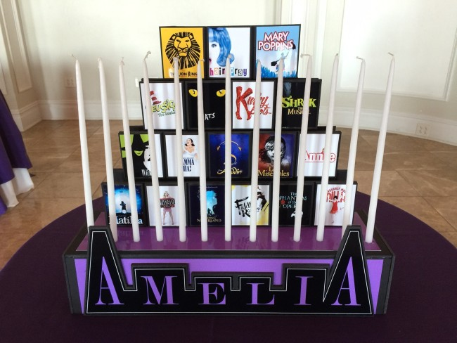 Broadway Themed Bat Mitzvah Party Candle Lighting
