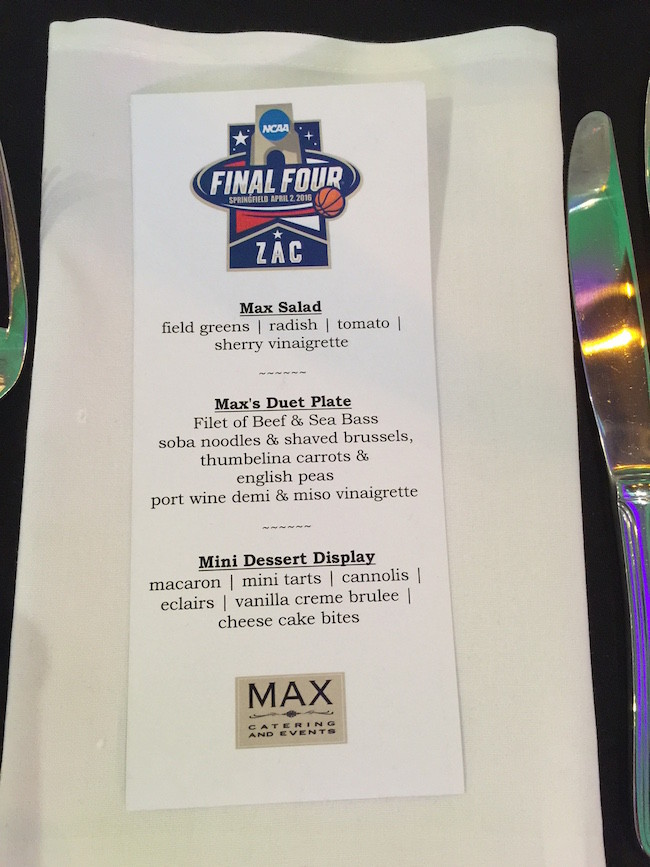 Final Four Themed Bar Mitzvah Party Menu