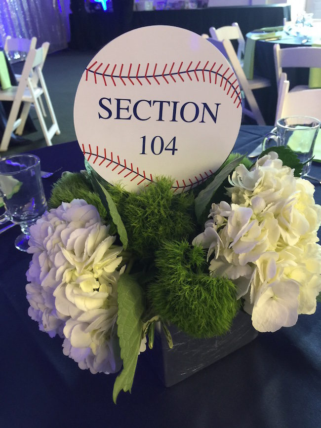 Baseball themed party centerpiece