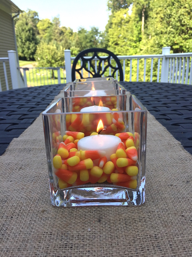 Candy Corn Candle Centerpiece