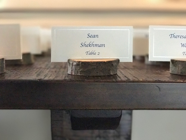 Old world tree stump place card